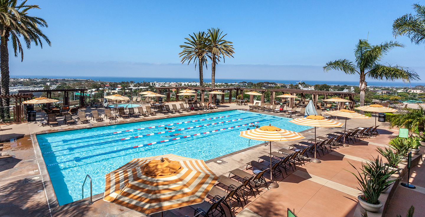 Resort Quiet Pool with Lap Lanes, Cabanas, and Fire Pits