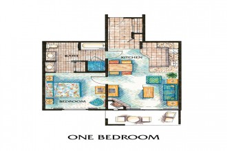 ONE BEDROOM CONDO SUITE - Room Plan